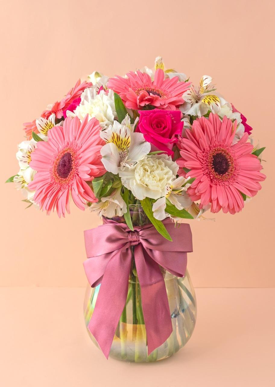 Imagen para Gerberas y rosas en jarrón tornasol - 1