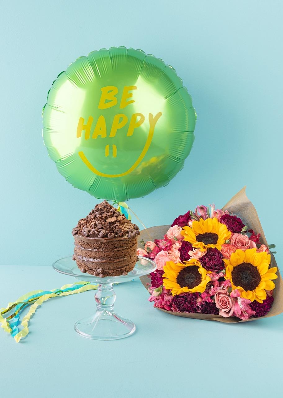 """Imagen para Globo """"Be Happy"""" con Girasoles y Pastel de Chocolate - 1"""