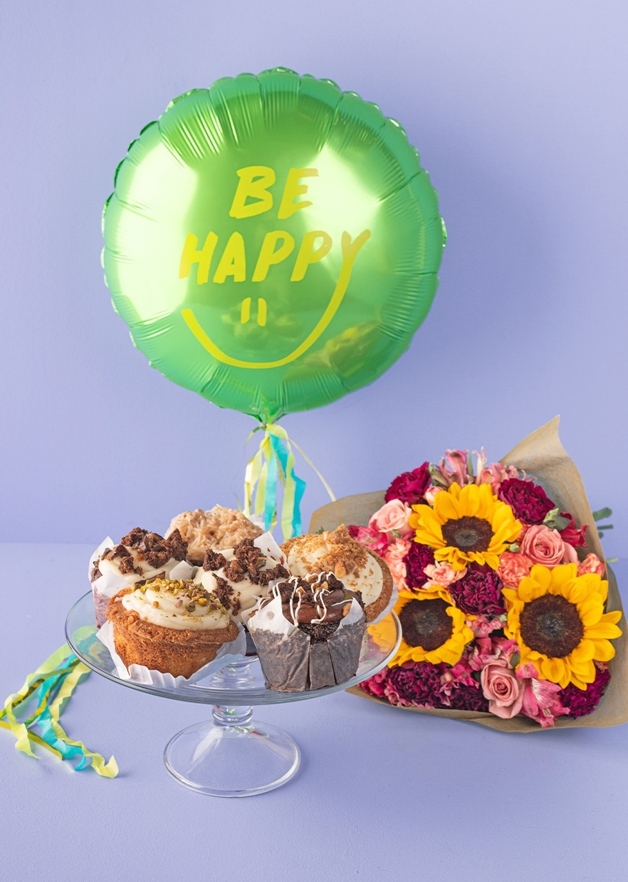 "Imagen para ""Be Happy"" Balloon with Sunflowers Bouquet and Muffins - 1"