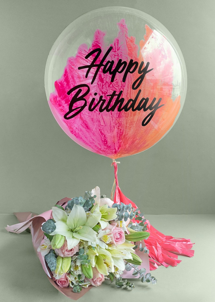 "Imagen para Bubble Balloon ""Happy Birthday"" with Bouquet of Lilies - 1"