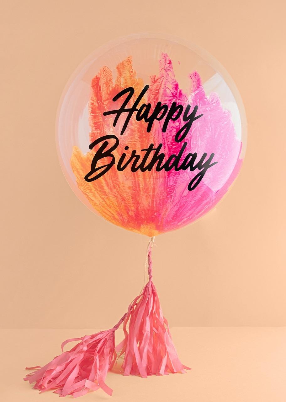 "Imagen para Globo Burbuja ""Happy birthday"" Rosa - 1"