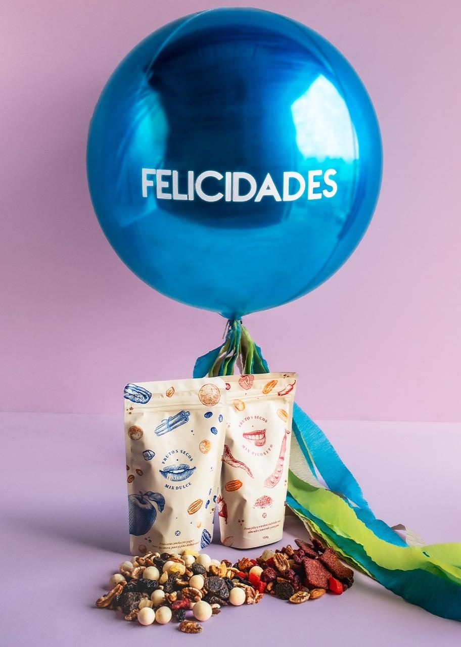 """Imagen para Globo Esférico Azul """"Felicidades"""" con Botana - 1"""