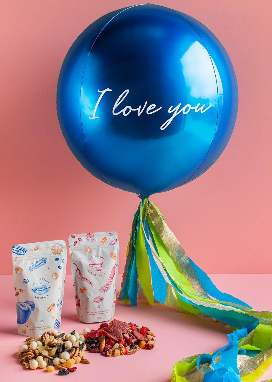 """Imagen para Globo Esférico Azul """"I love You"""" con Botana - 1"""