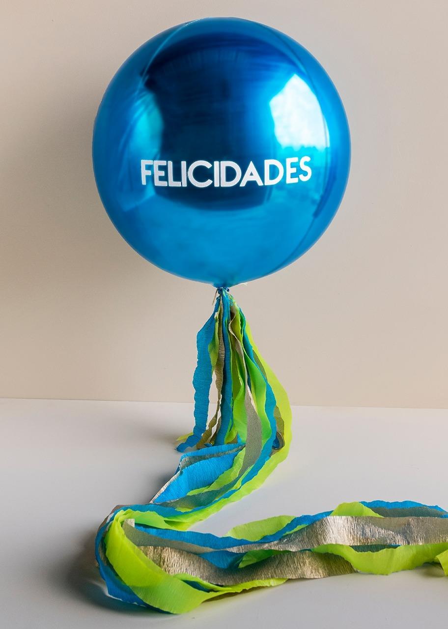 """Imagen para Spherical Blue """"Felicidades"""" Balloon - 1"""