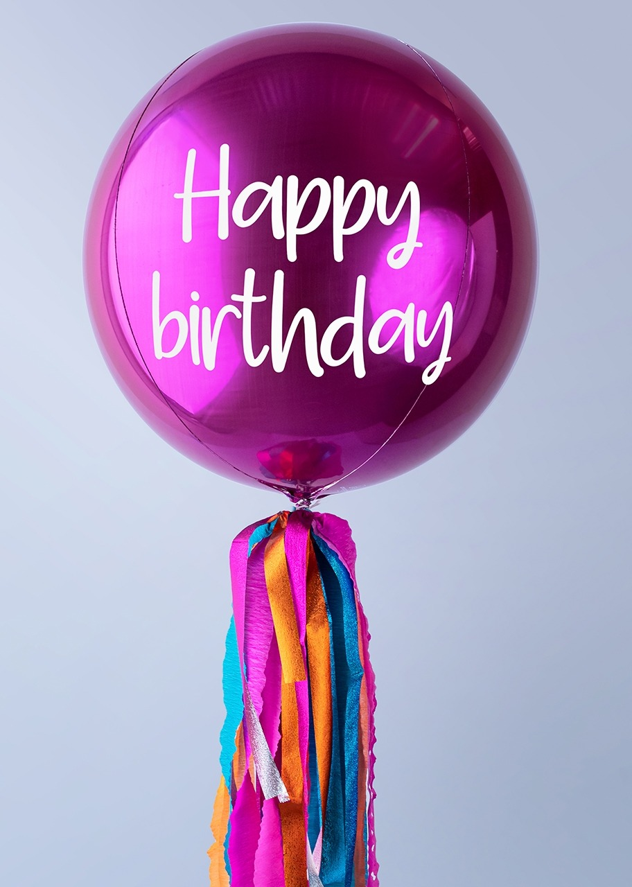 "Imagen para ""Happy Birthday"" Magenta Orbz Balloon - 1"