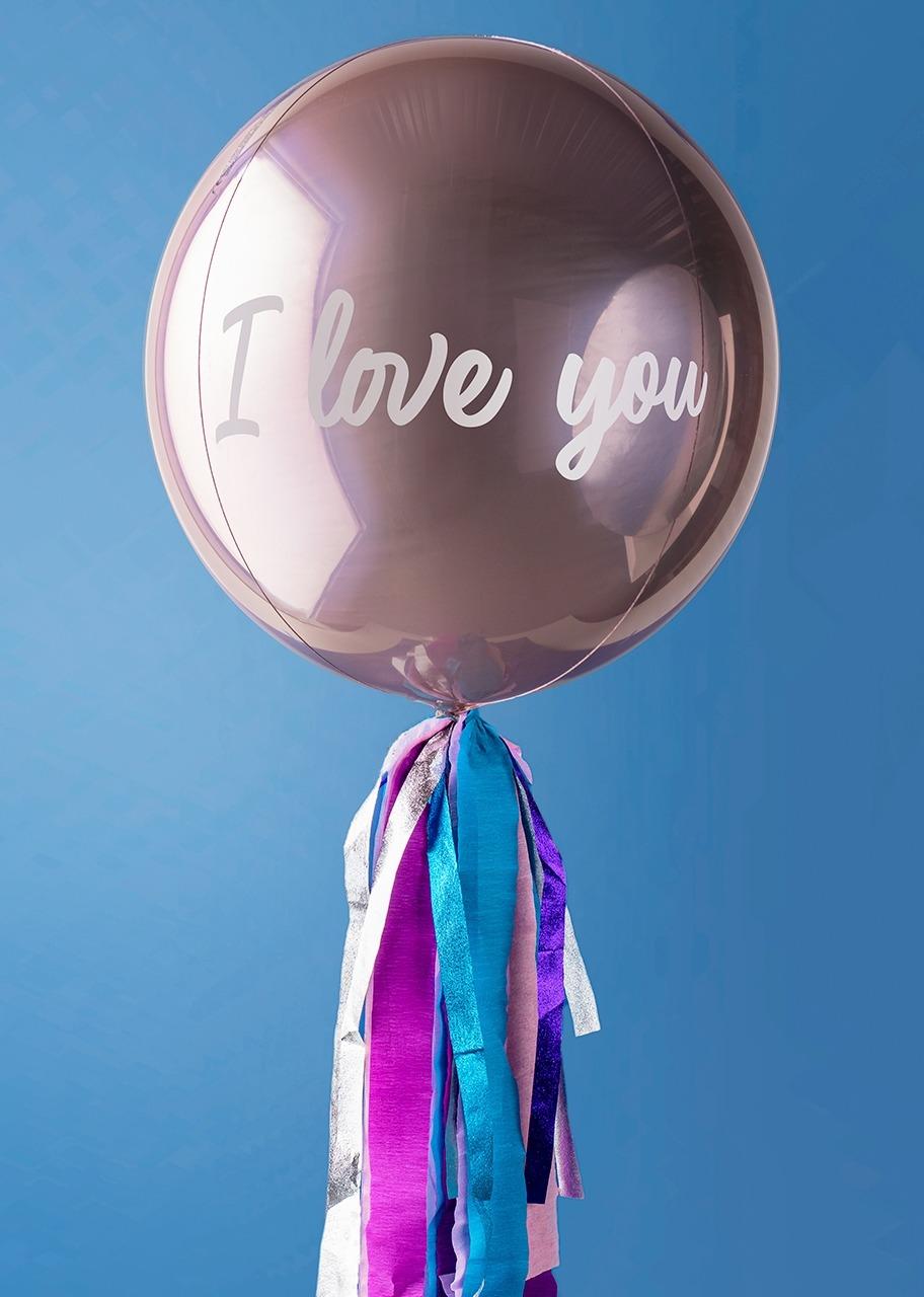 """Imagen para """"I love you"""" Rose Gold Orbz Balloon - 1"""