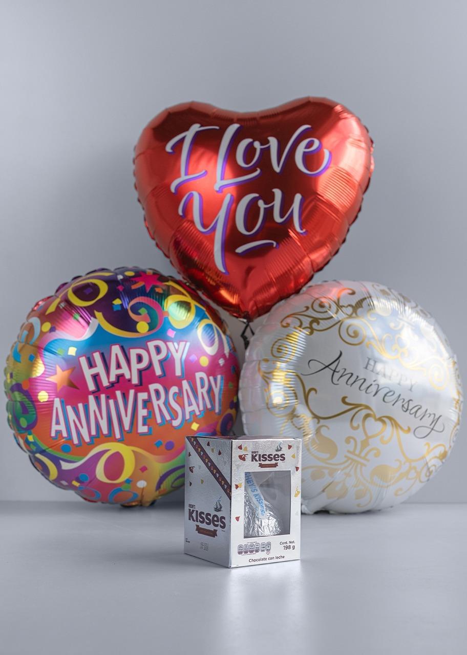 Imagen para Globos de Aniversario y Amor con Kiss Gigante - 1