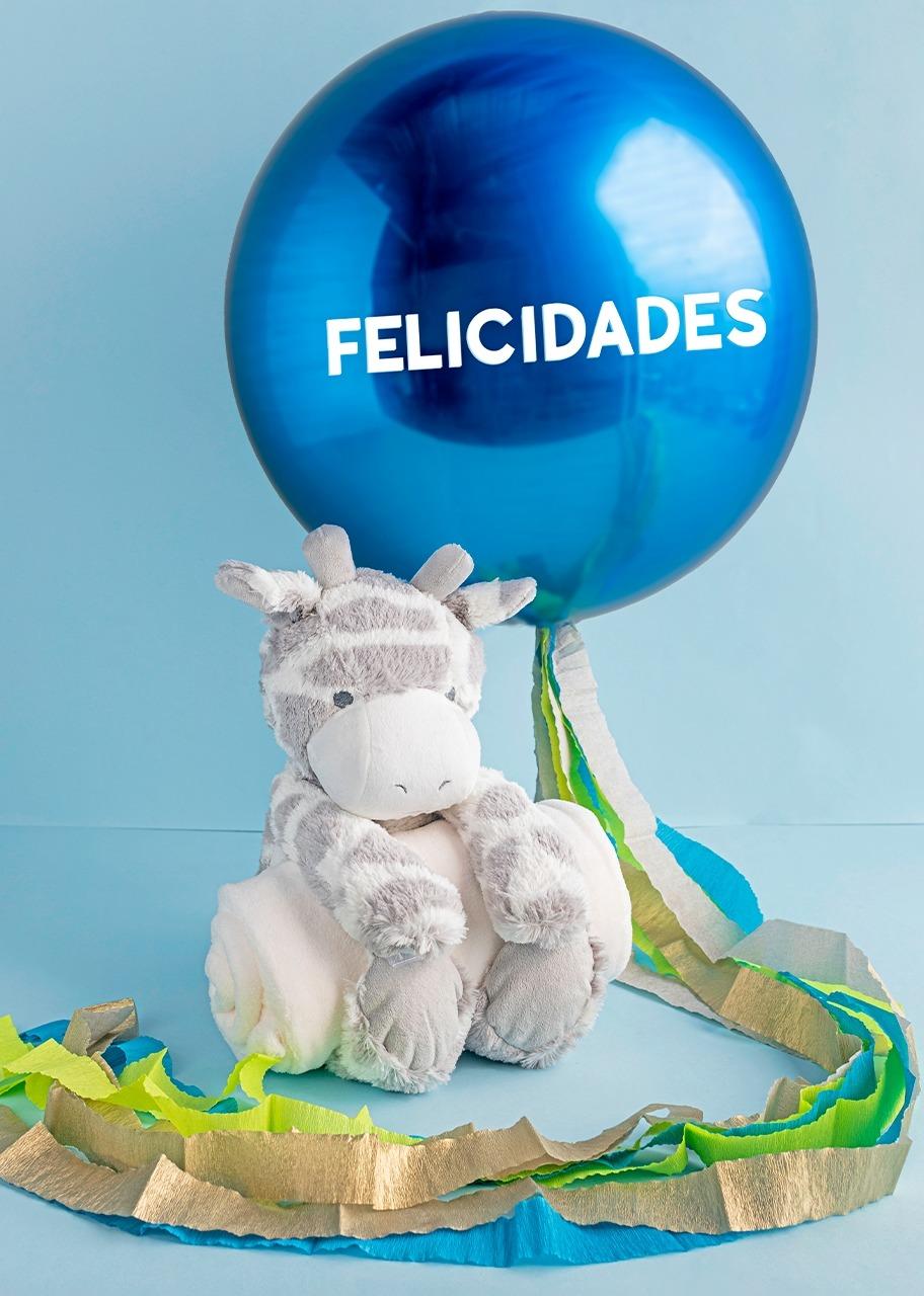 "Imagen para Giraffe stuffed with blanket and Balloon ""Felicidades"" - 1"