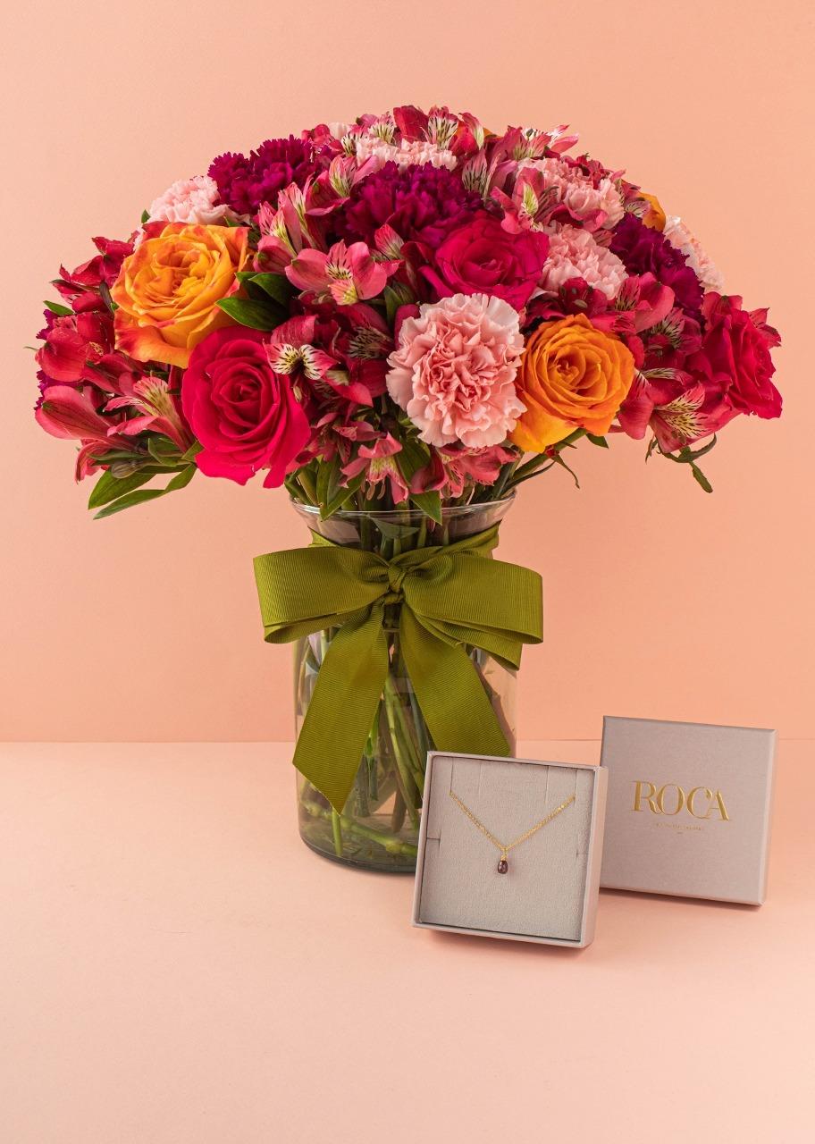 Imagen para collar del mes con rosas en jarrón - 1