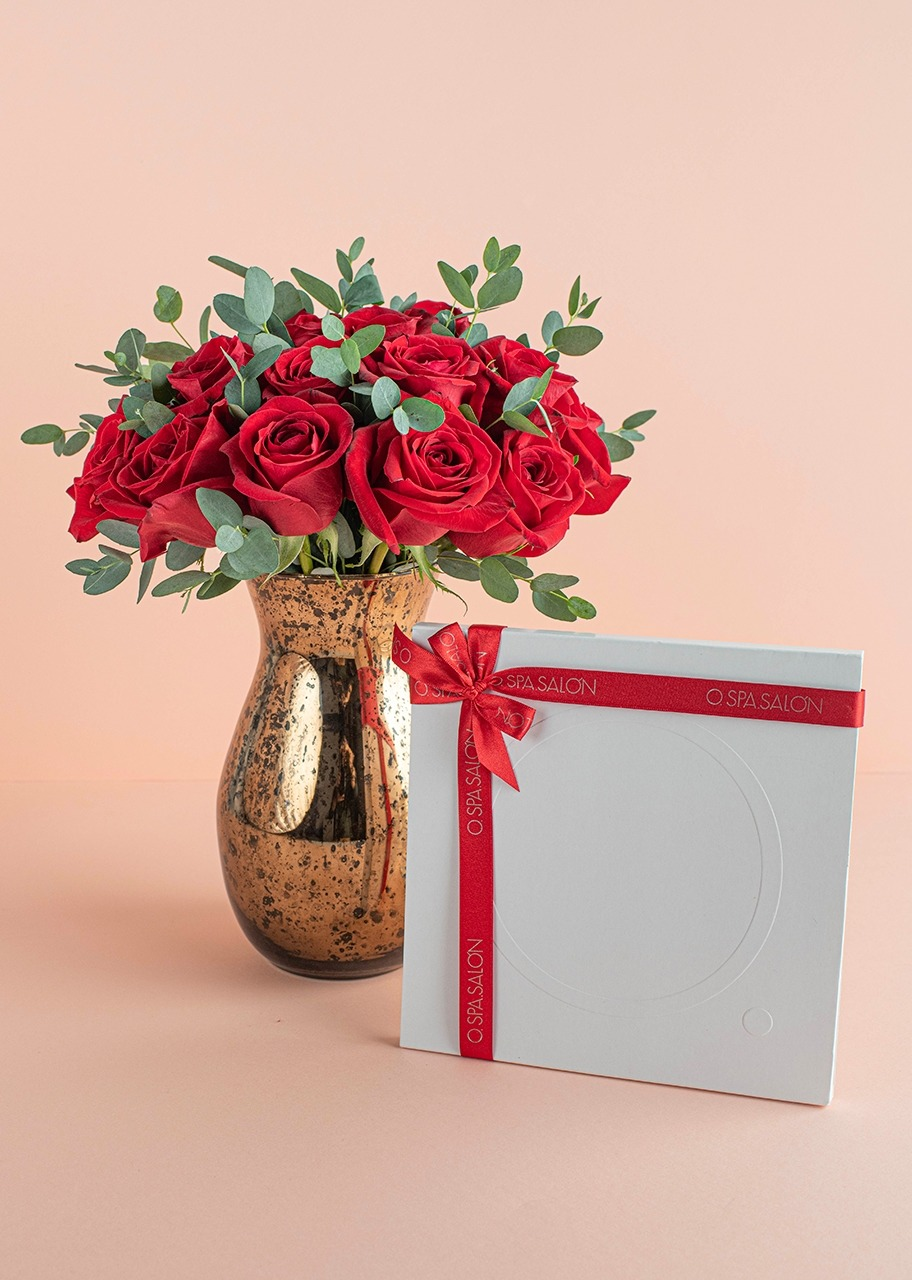 """Imagen para Certificado """"O."""" Manicure con Rosas rojas en jarrón jaspeado - 1"""