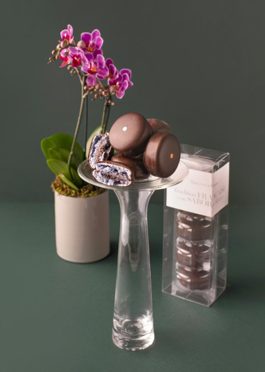 Imagen para Macarrones 5 pz con Mini Orquídea - 1