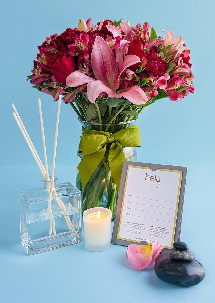 Imagen para Masaje express con arreglo de rosas y lilys - 1
