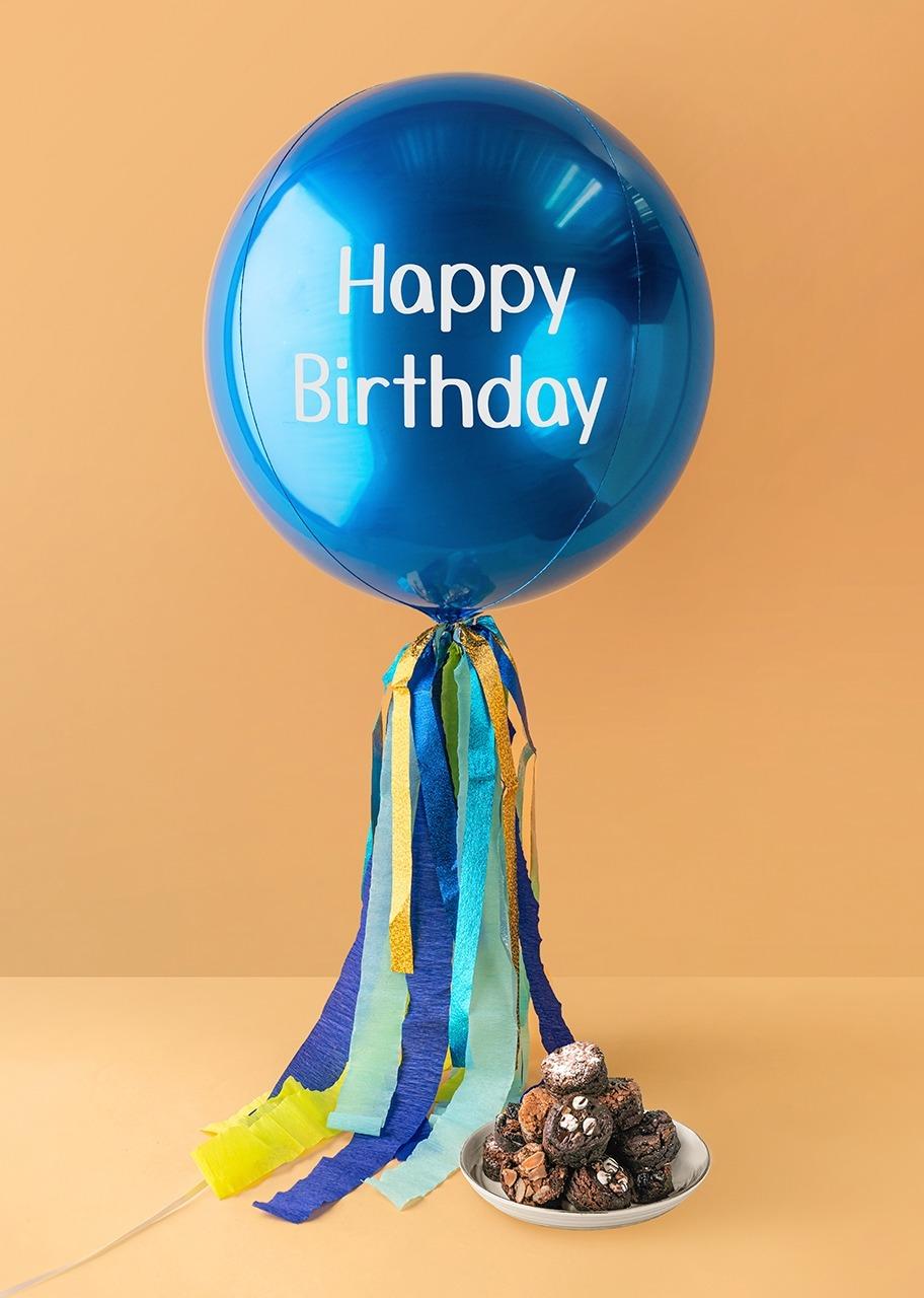 "Imagen para Globo Azul ""Happy Birthday"" con Brownies Brownerie - 1"