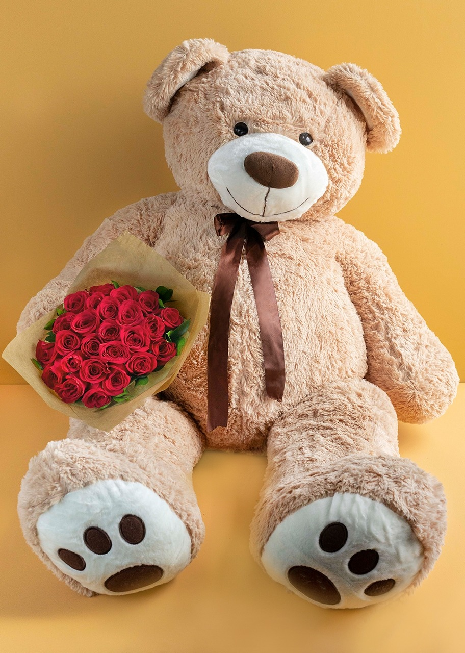 Imagen para Gigant Teddy Bear with 24 Roses Bouquet - 1