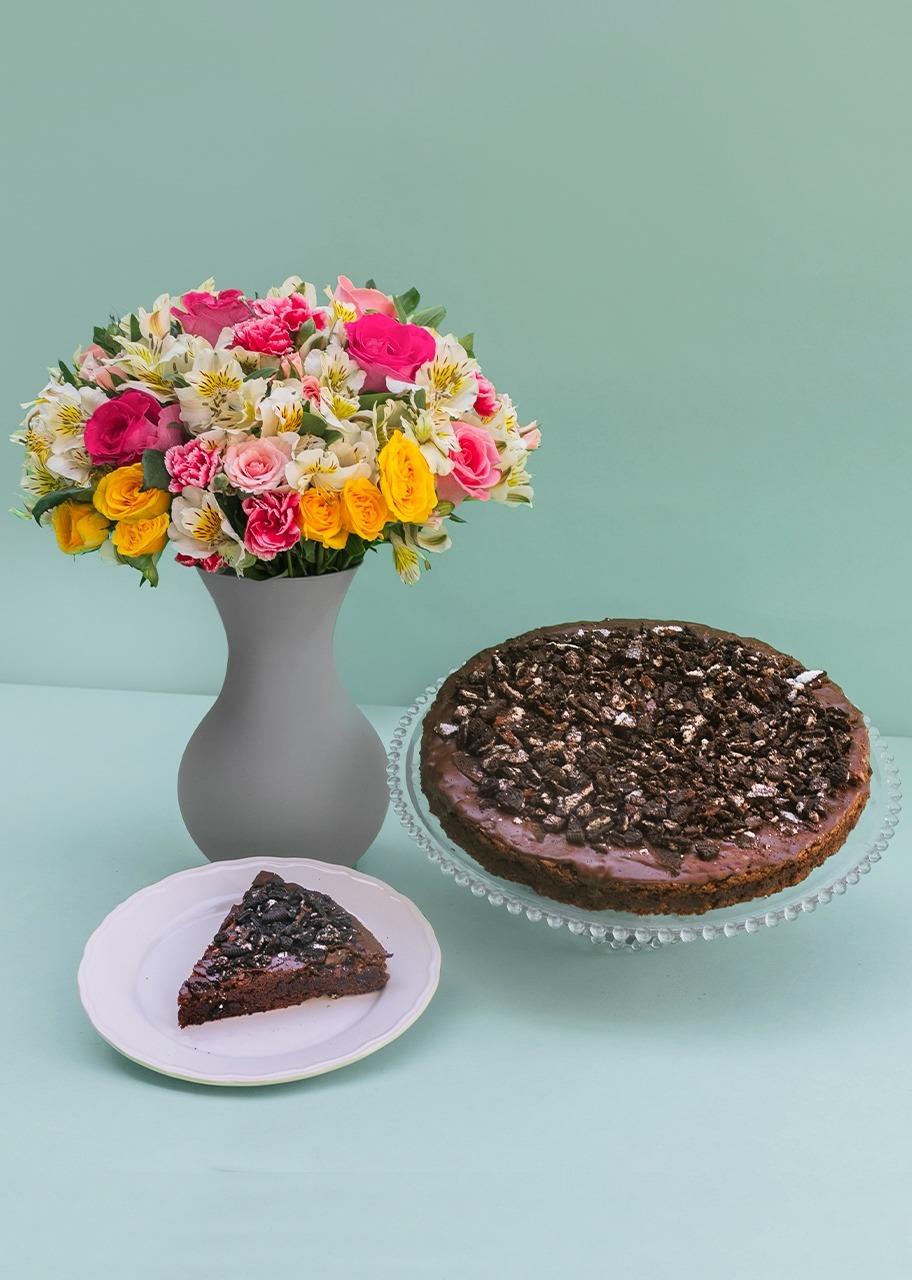 Imagen para Pastel Brownie con Arreglo Floral - 1