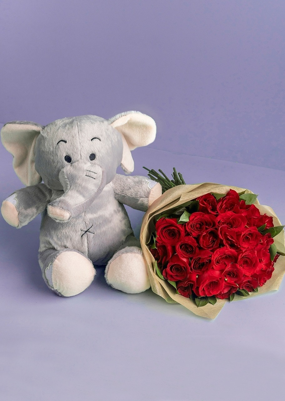 Imagen para Stuffed Elephant with 24 Red Roses - 1