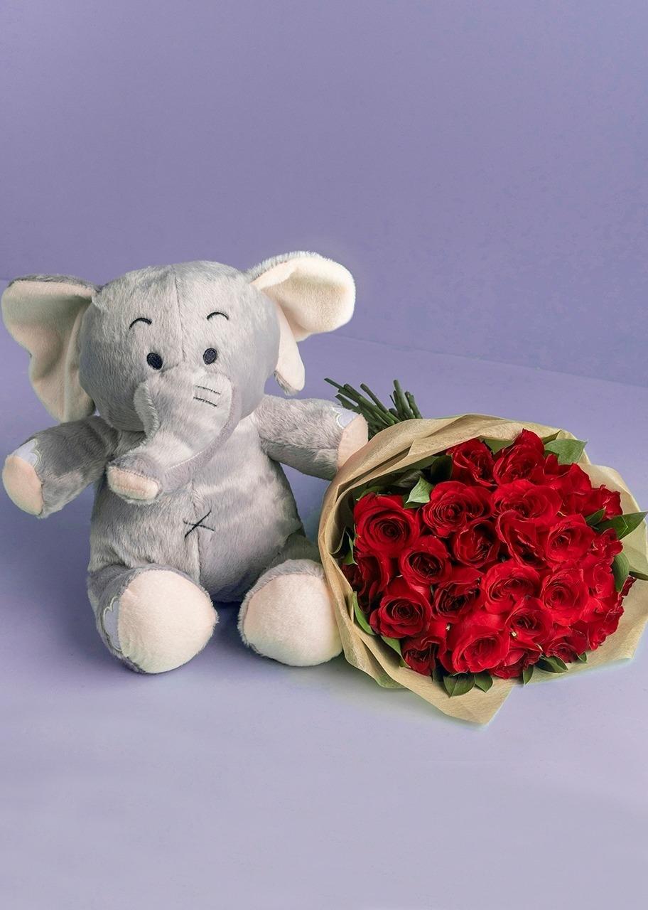 Imagen para Peluche Elefante con 24 Rosas Rojas - 1