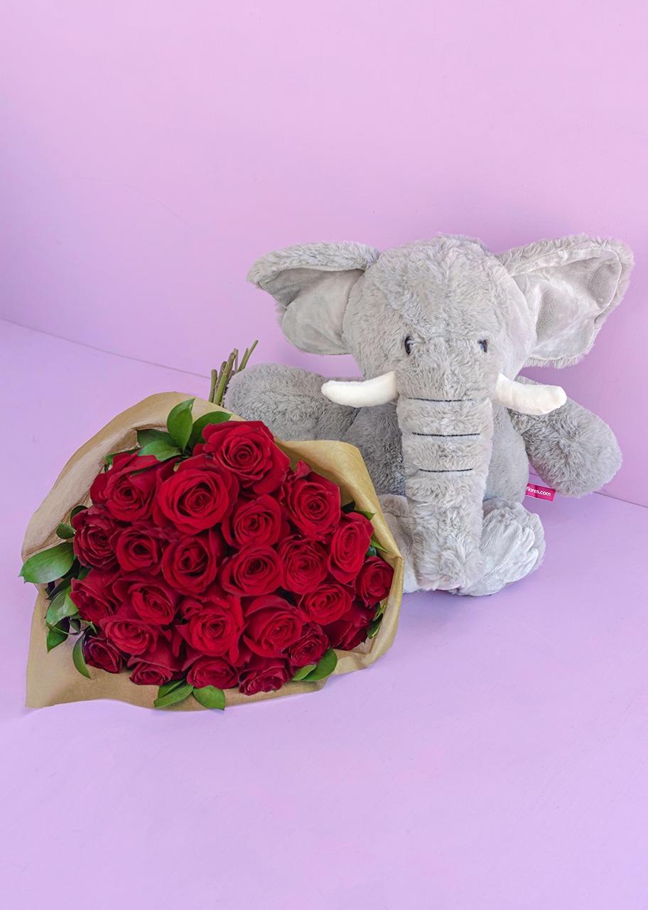 Imagen para Peluche de Elefante con 24 rosas rojas - 1
