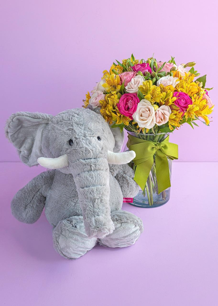 Imagen para Peluche de Elefante con Rosas y Mini Rosas en Jarrón - 1
