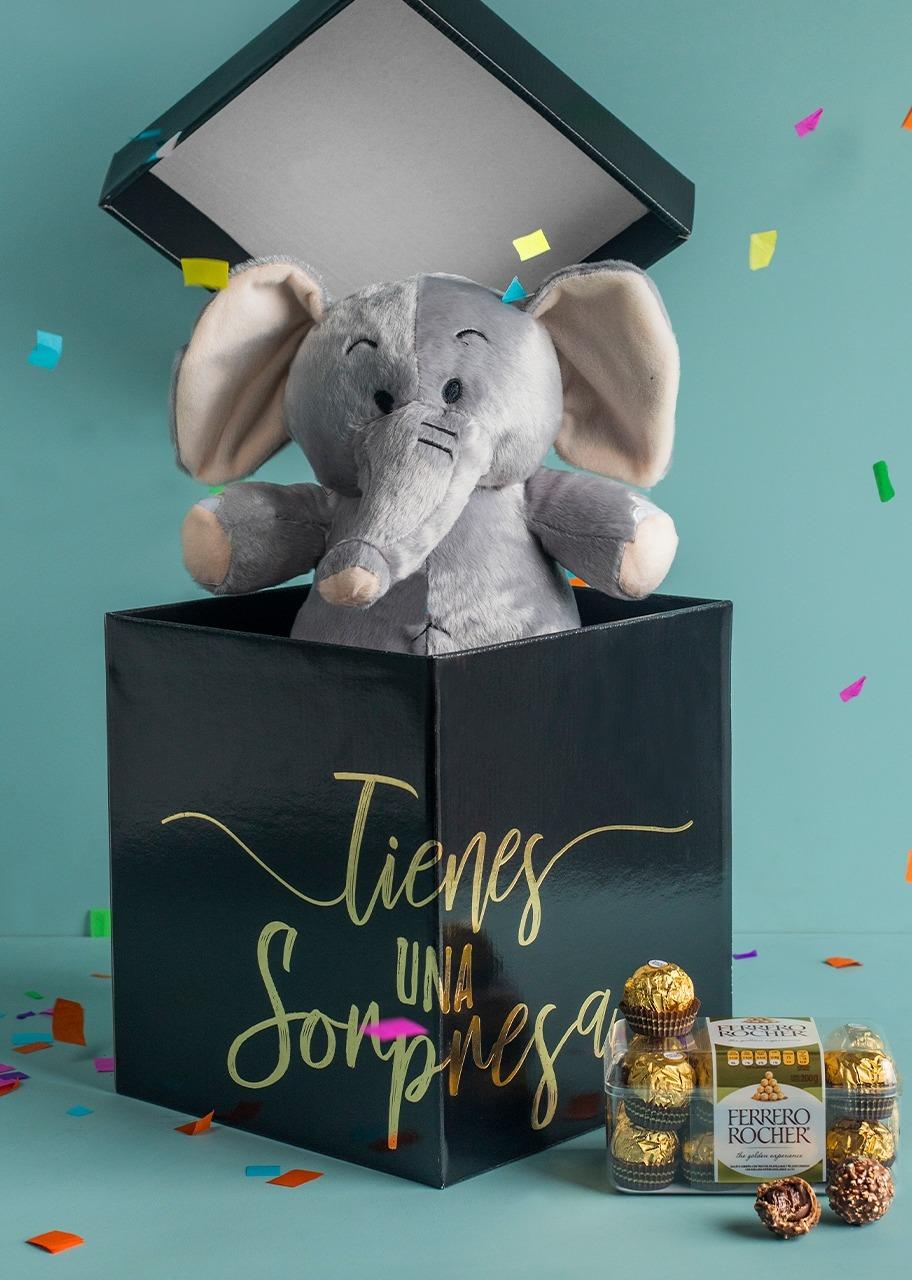 Imagen para Peluche de Elefante en caja sorpresa con Ferrero - 1