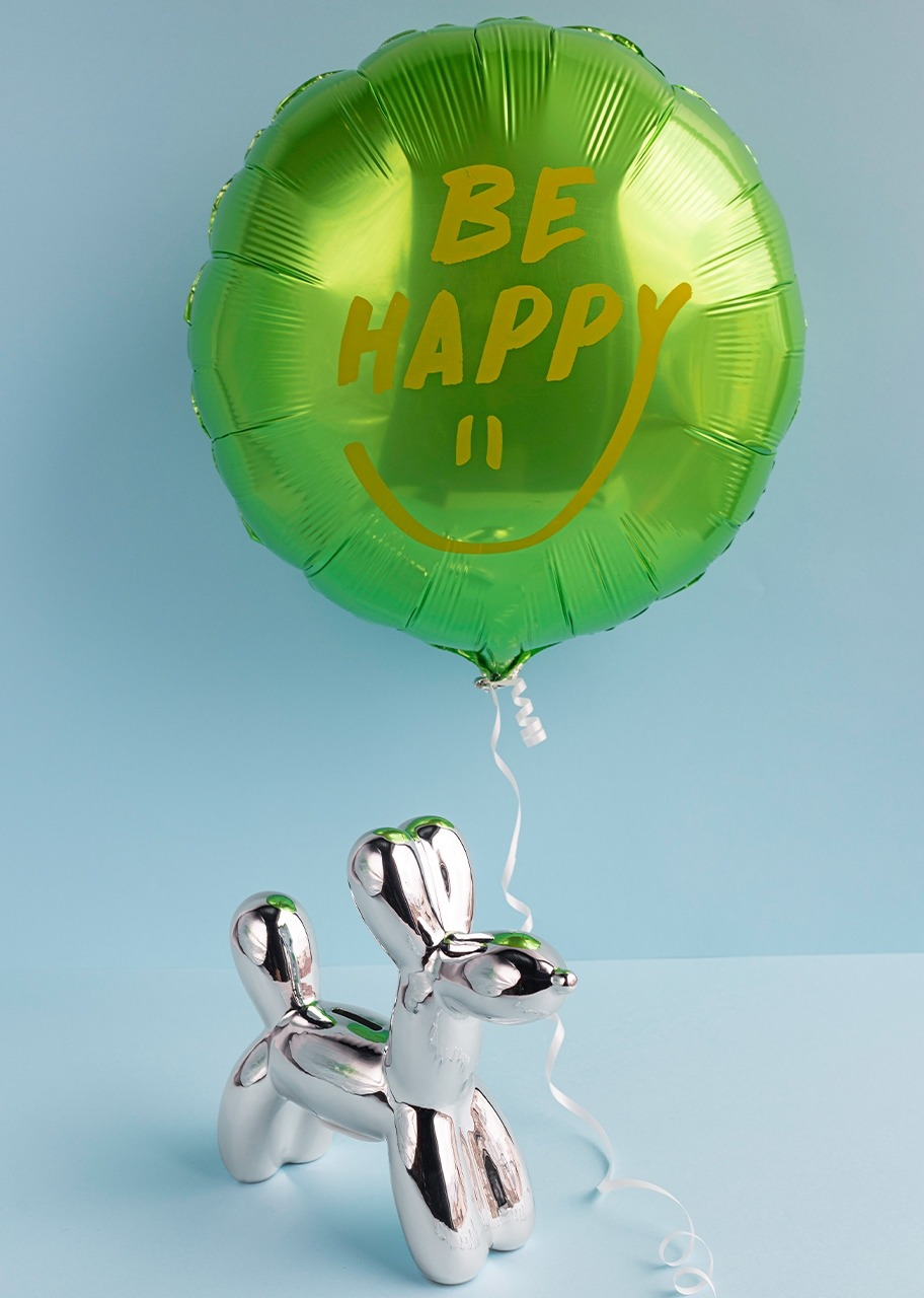 """Imagen para Perrito plateado con Globo """"Be Happy"""" - 1"""