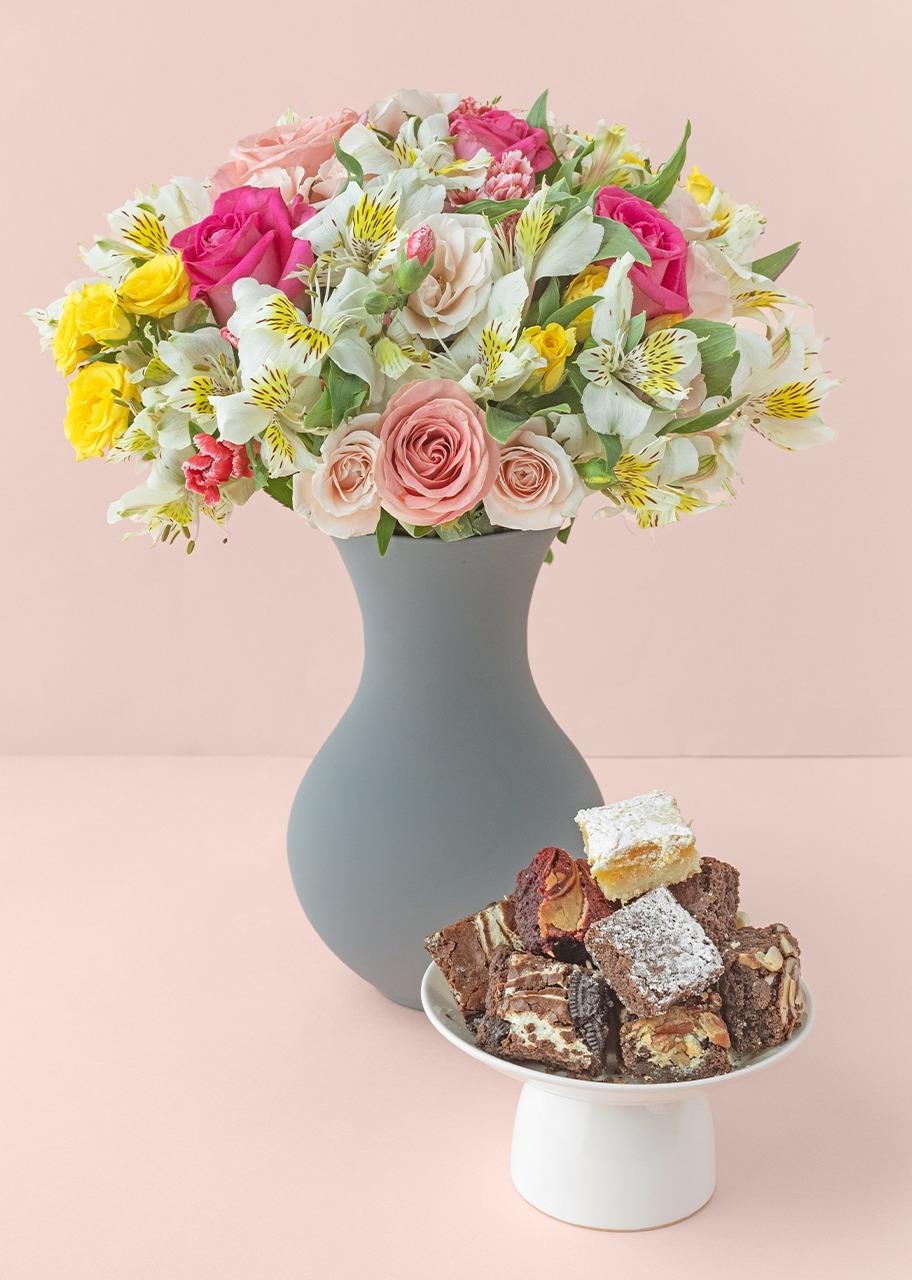 Imagen para Primavera de Rosas con brownies 8 piezas - 1