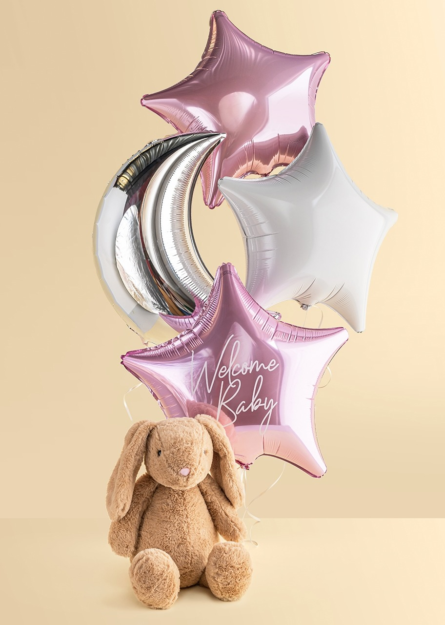 Imagen para Arreglo de Globos Nacimiento Bebé Niña con Conejo Beige - 1