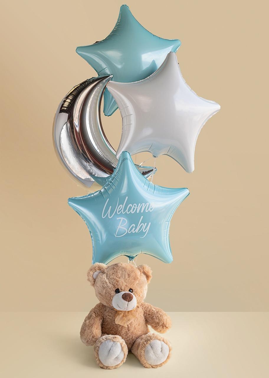 Imagen para Arreglo de Globos Nacimiento Bebé Niño con Oso 35 cm - 1