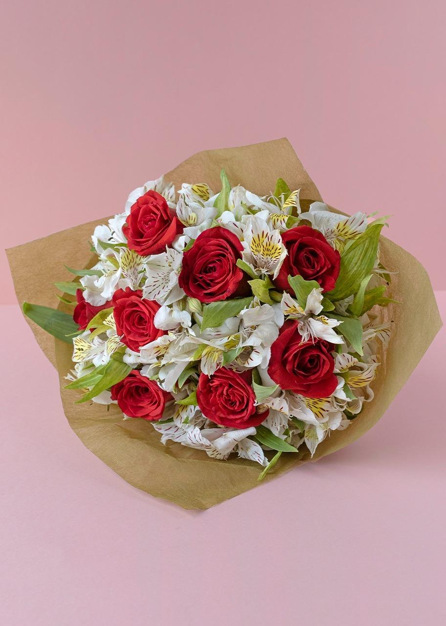 Imagen para Ramo con 8 Rosas rojas y Alstroemeria - 1