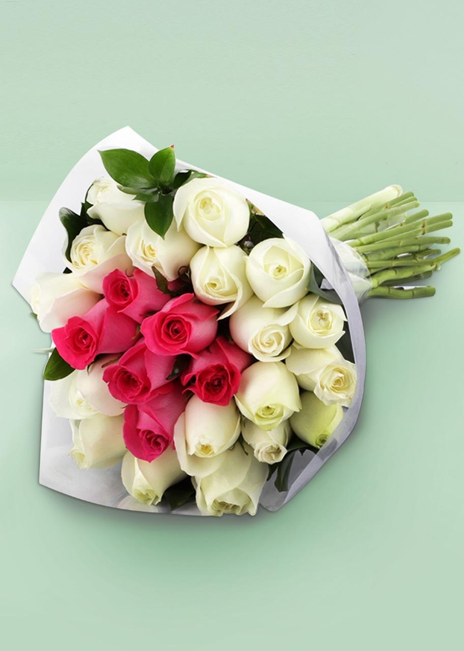 Imagen para Ramo de 24 Rosas Blancas y Rosas - 1