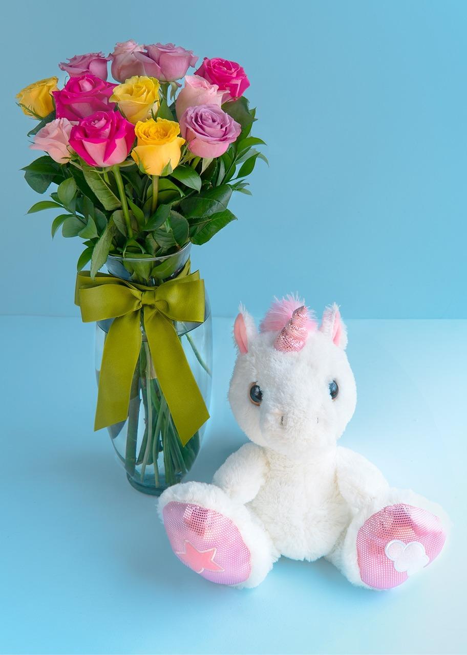 Imagen para Regalo Unicornio con Rosas Arcoiris - 1