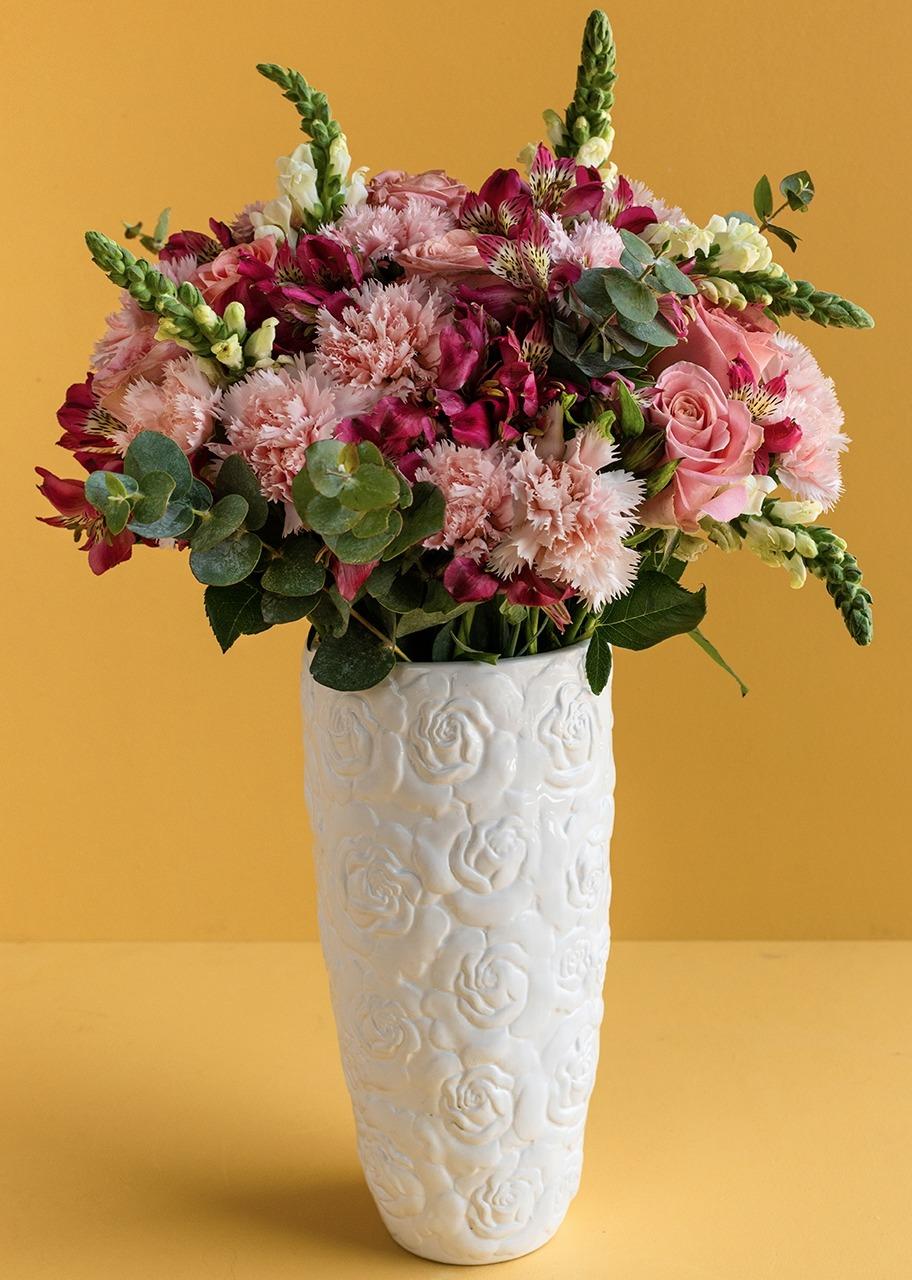 Imagen para Rosas Rosas en Jarrón de cerámica - 1
