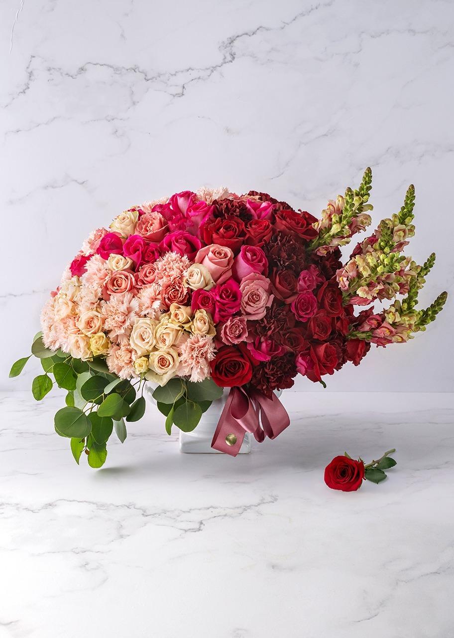 Imagen para Combined roses in ceramic vase - 1