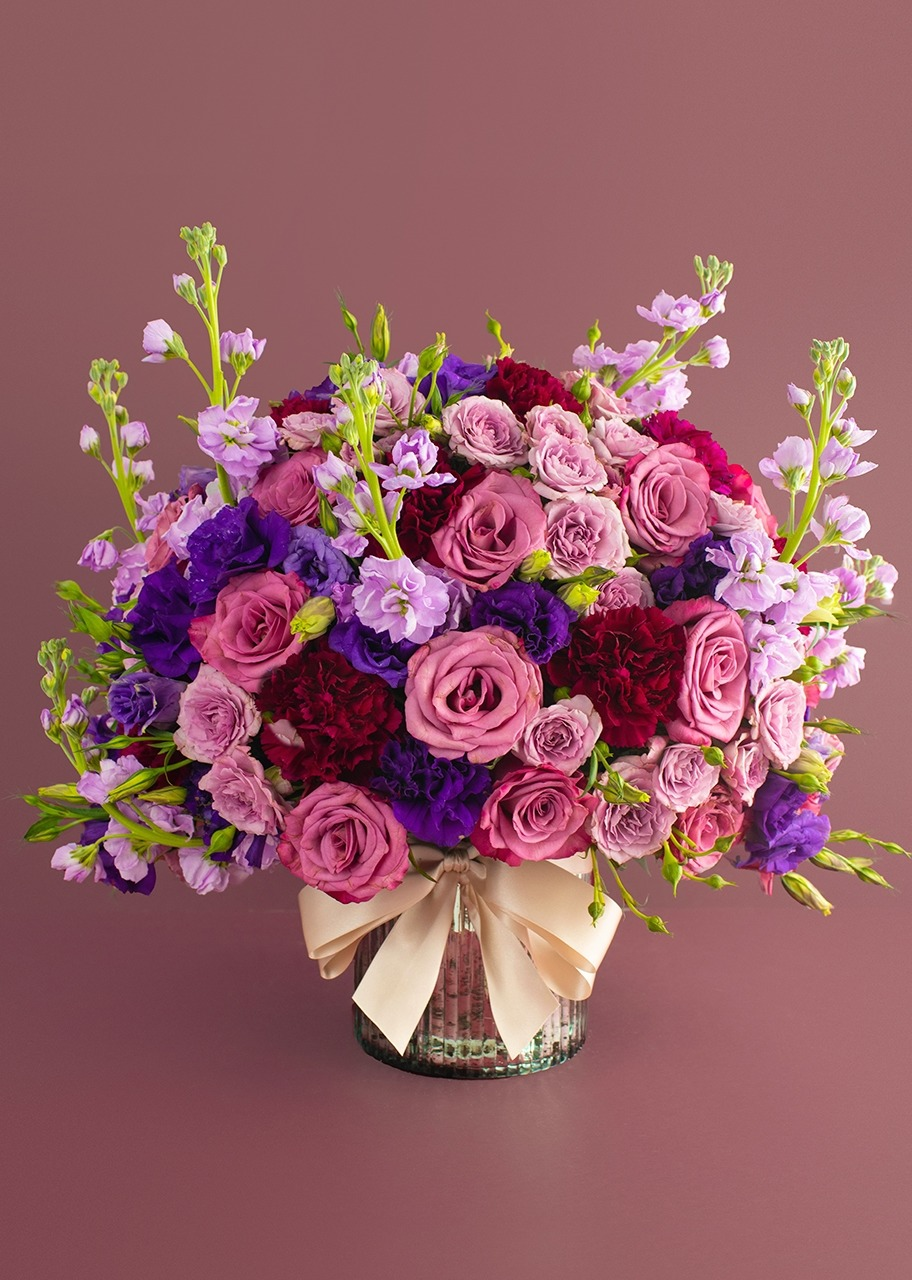 Imagen para Lilac Roses and Lisianthus in vase - 1