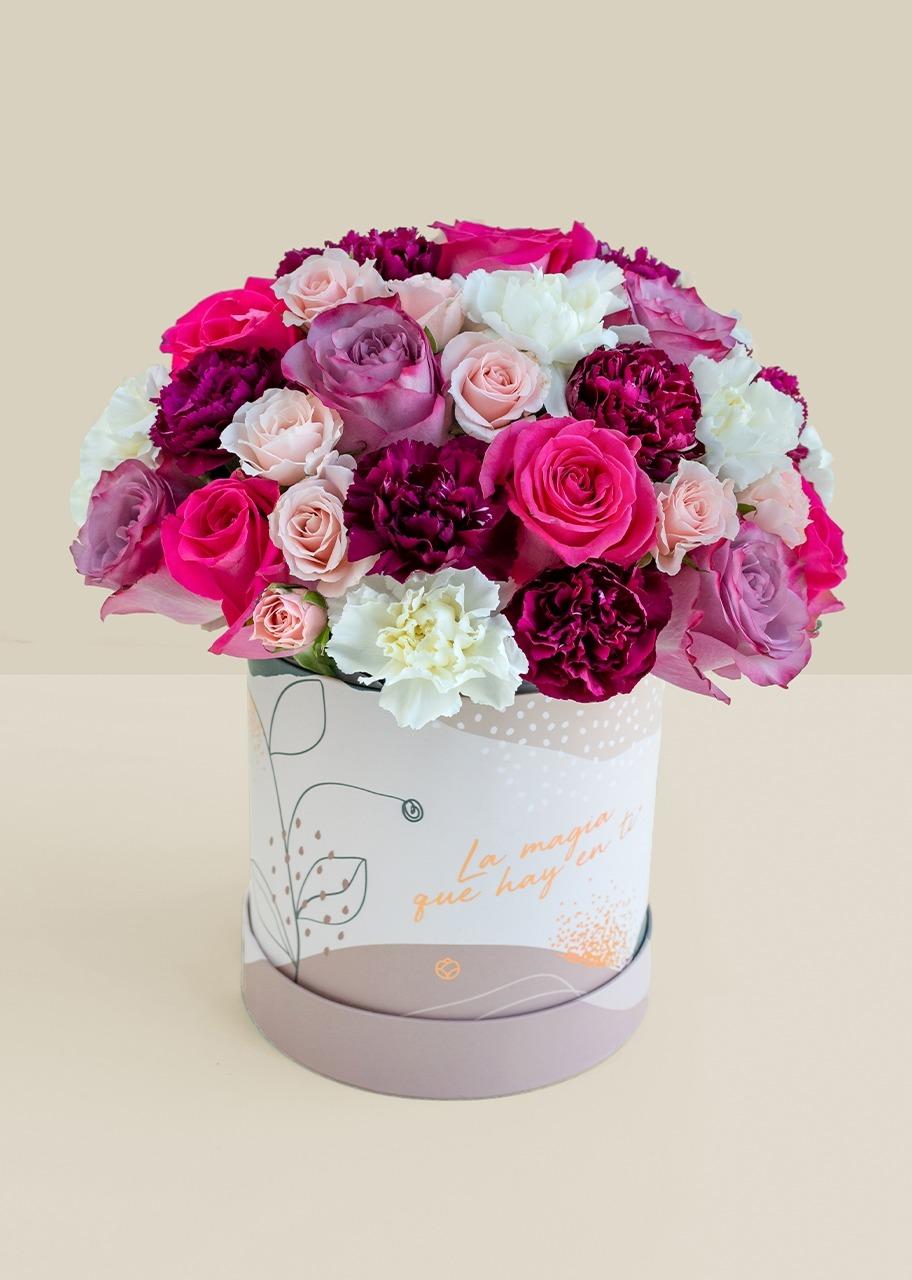 Imagen para Rosas moradas y mini rosas en caja estampada - 1