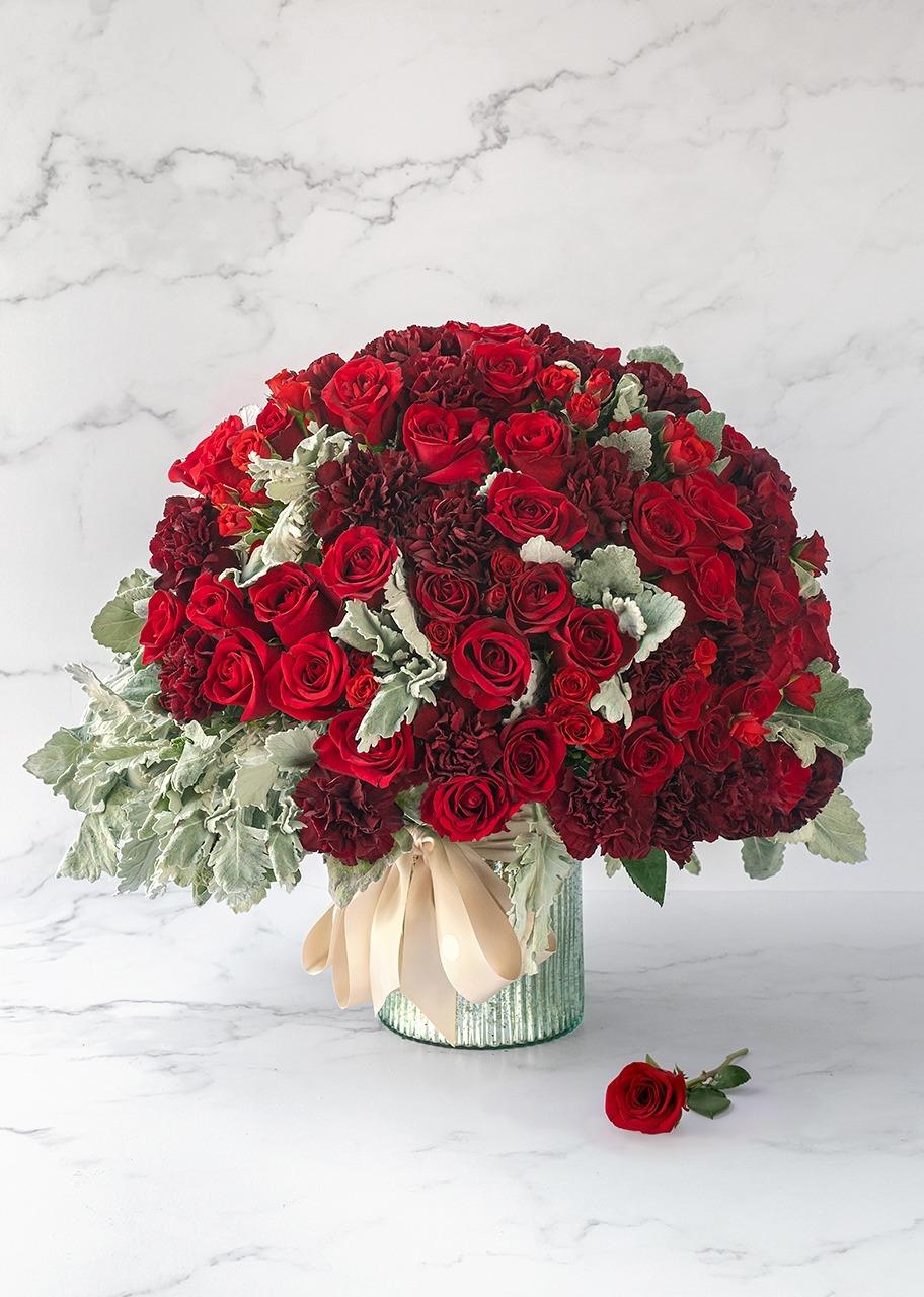 Imagen para Rosas rojas en base platinada - 1