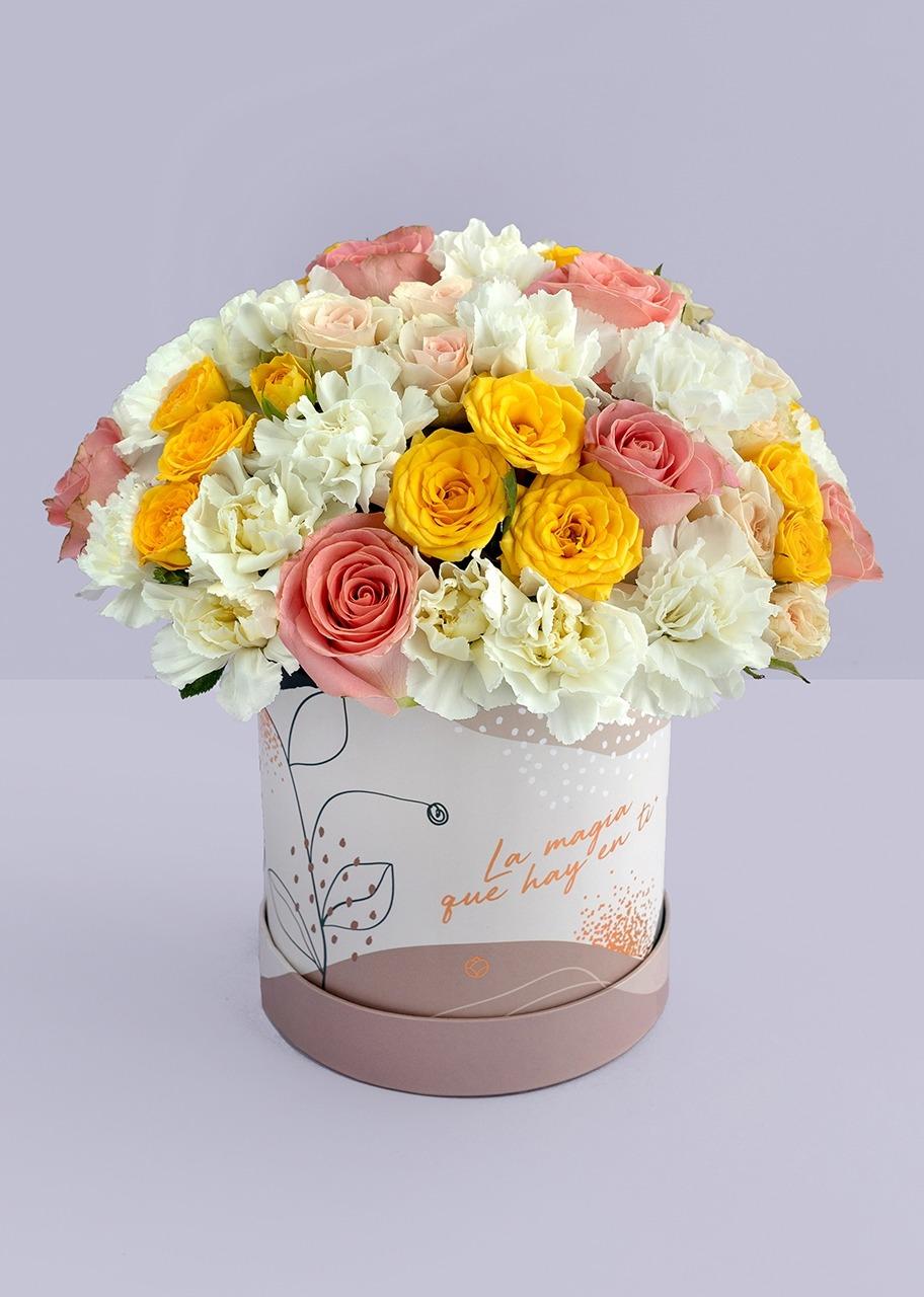 Imagen para Rosas rosa y claveles en caja estampada - 1