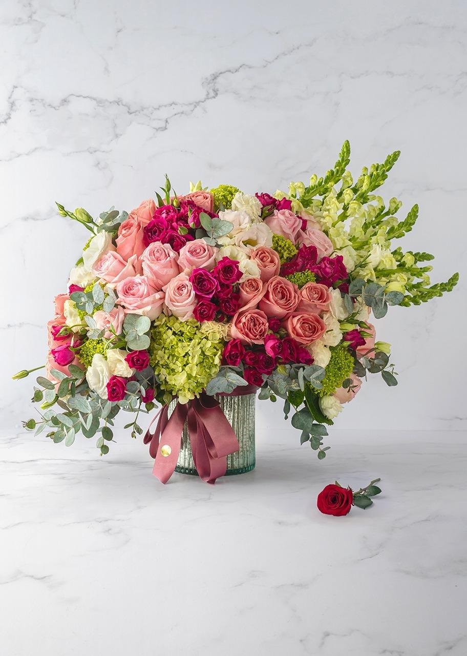 Imagen para Rosas rosas y mini rosas en base platinada - 1