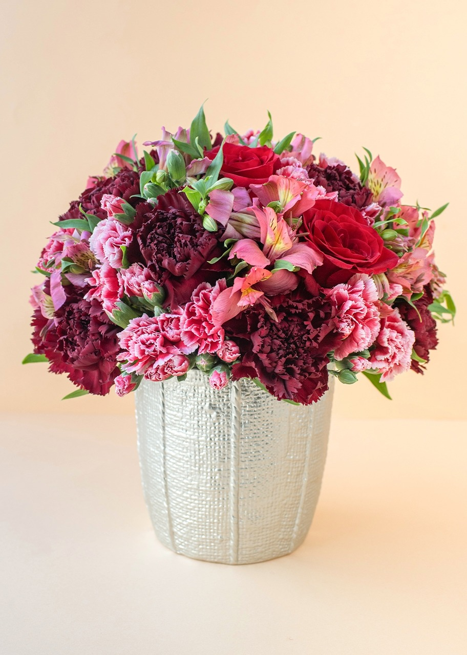 Imagen para Rosas y claveles en base de cerámica - 1