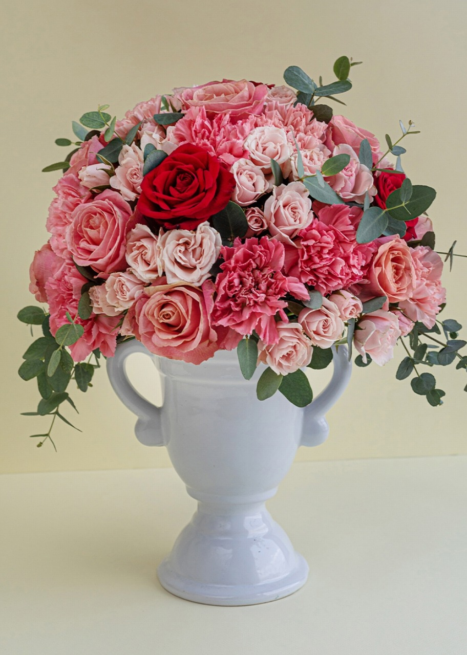 Imagen para Rosas y mini rosas en copa de céramica - 1