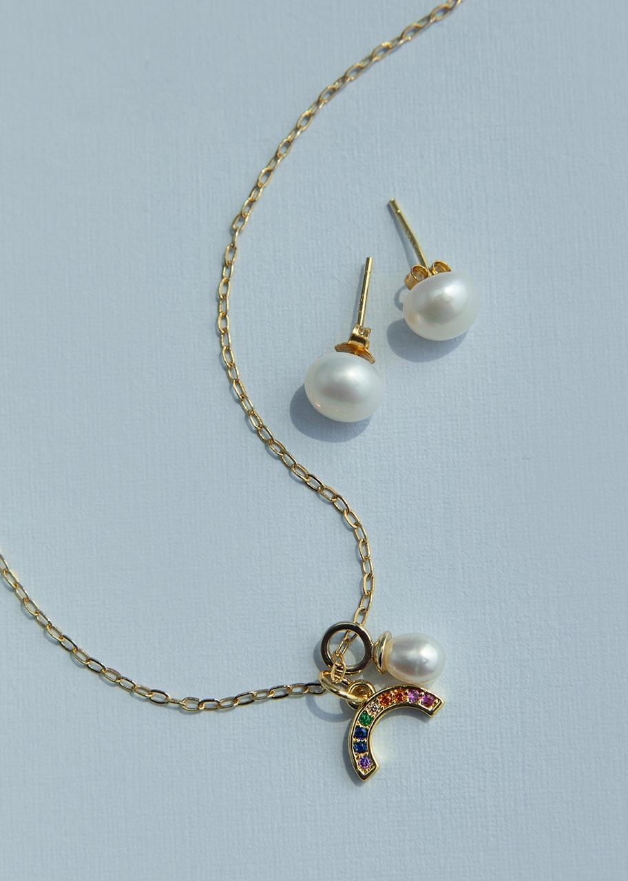 Imagen para Set collar arcoiris con aretes La Perla - 1