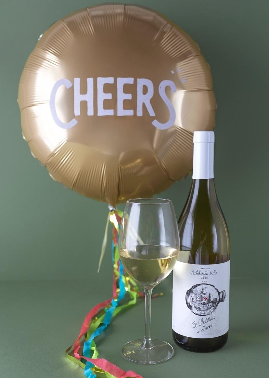 "Imagen para White Wine El Velero by Juguette with ""Cheers"" Balloon - 1"