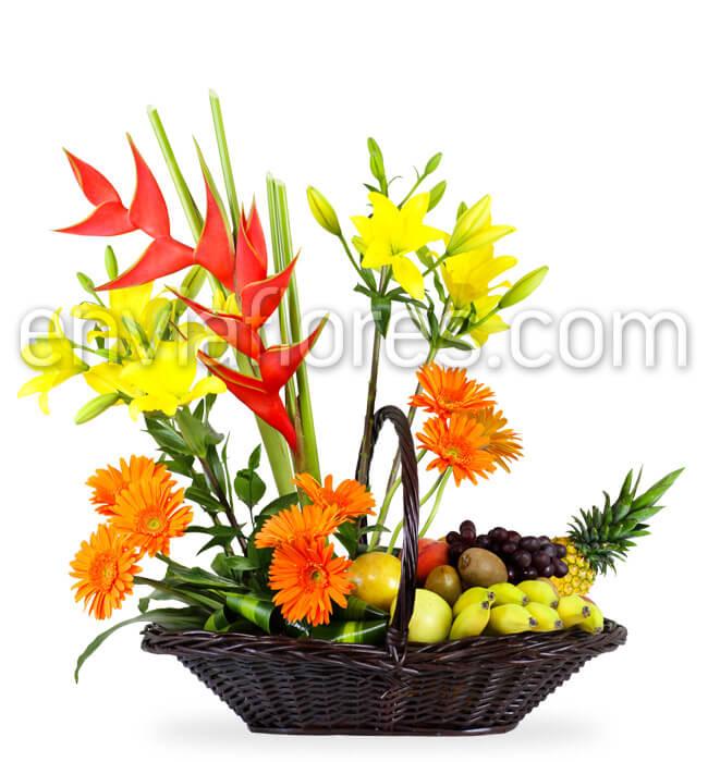 Envía Canasta Con Frutas Y Flores Enviaflorescom