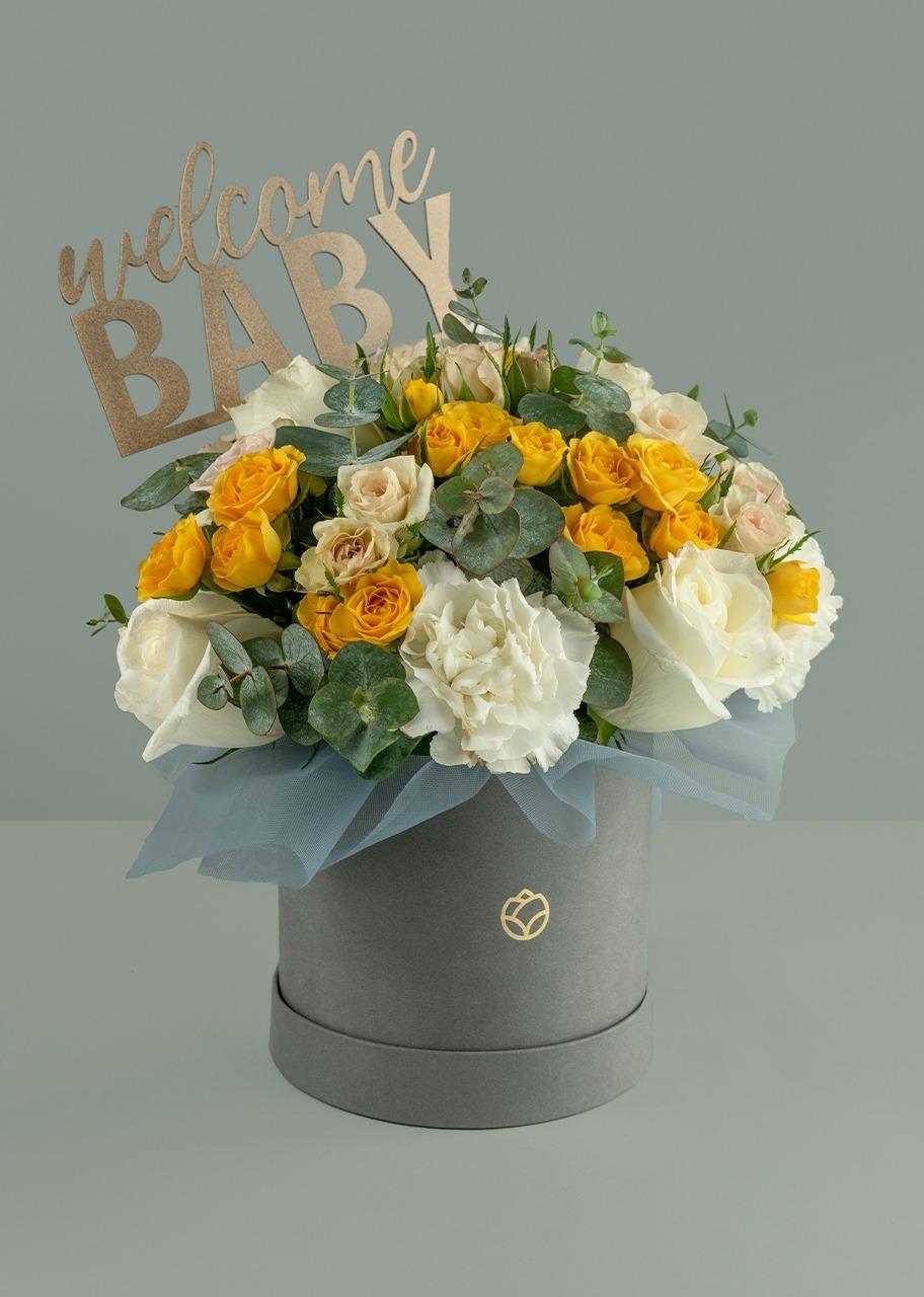 Imagen para Rosas y mini rosas amarillas en caja gris - 1