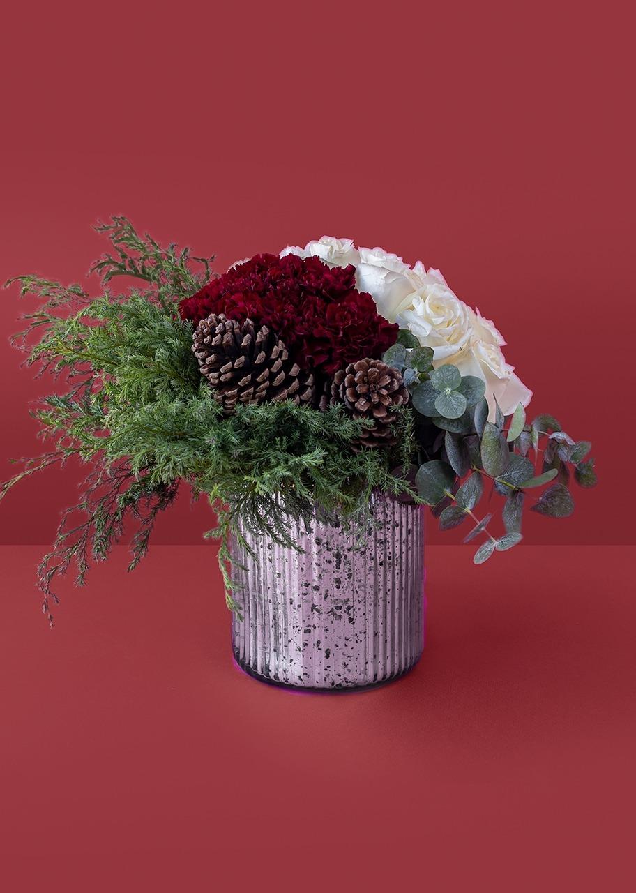 Imagen para Rosas y claveles en base jaspeada - 1