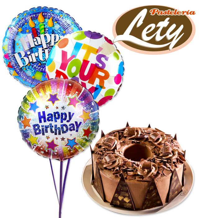 Imagen para Carlos V Chocolate Cake with Balloons - 1