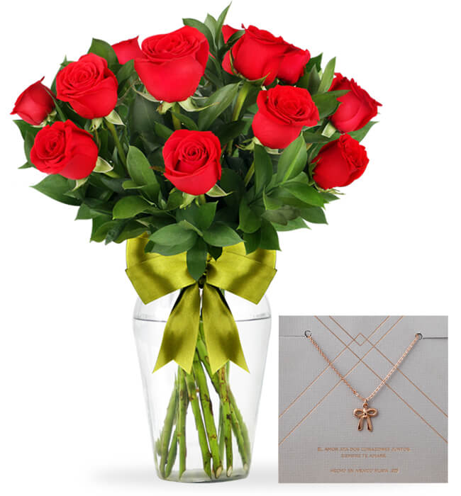 Imagen para 12 Red Roses Arrangement with Topknot Necklace - 1