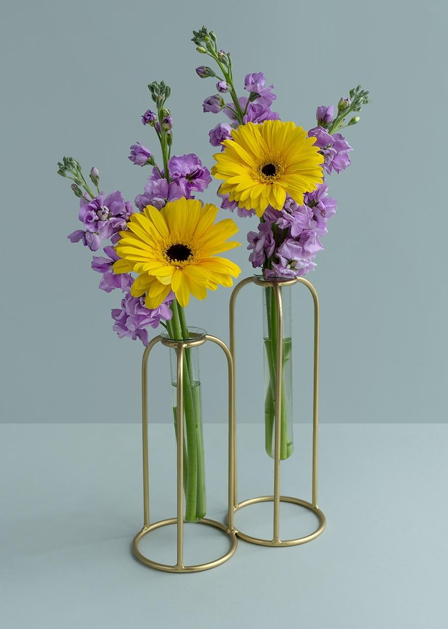 Imagen para Gerbera y alhelí en violetero dorado - 1