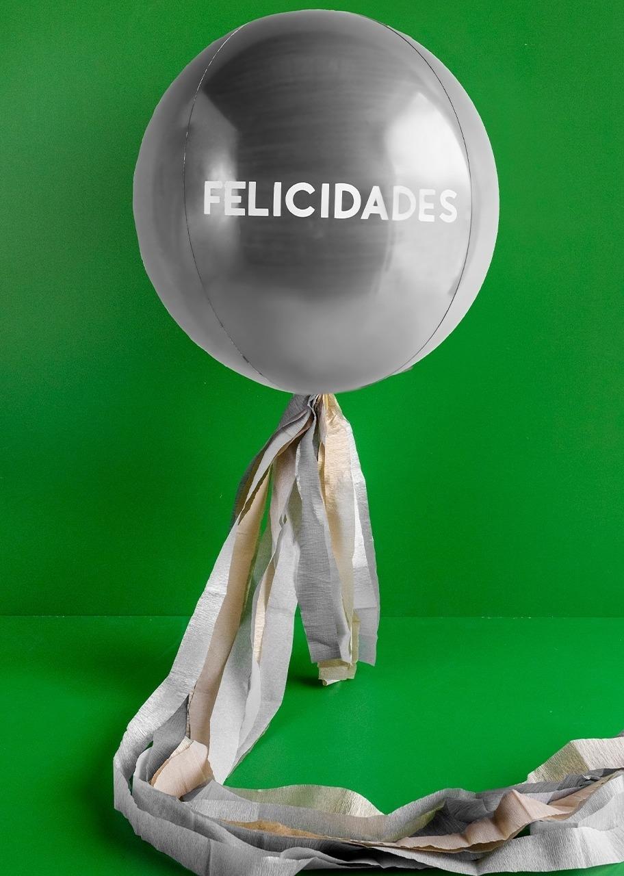 "Imagen para Globo Esférico Plata ""Felicidades"" - 1"