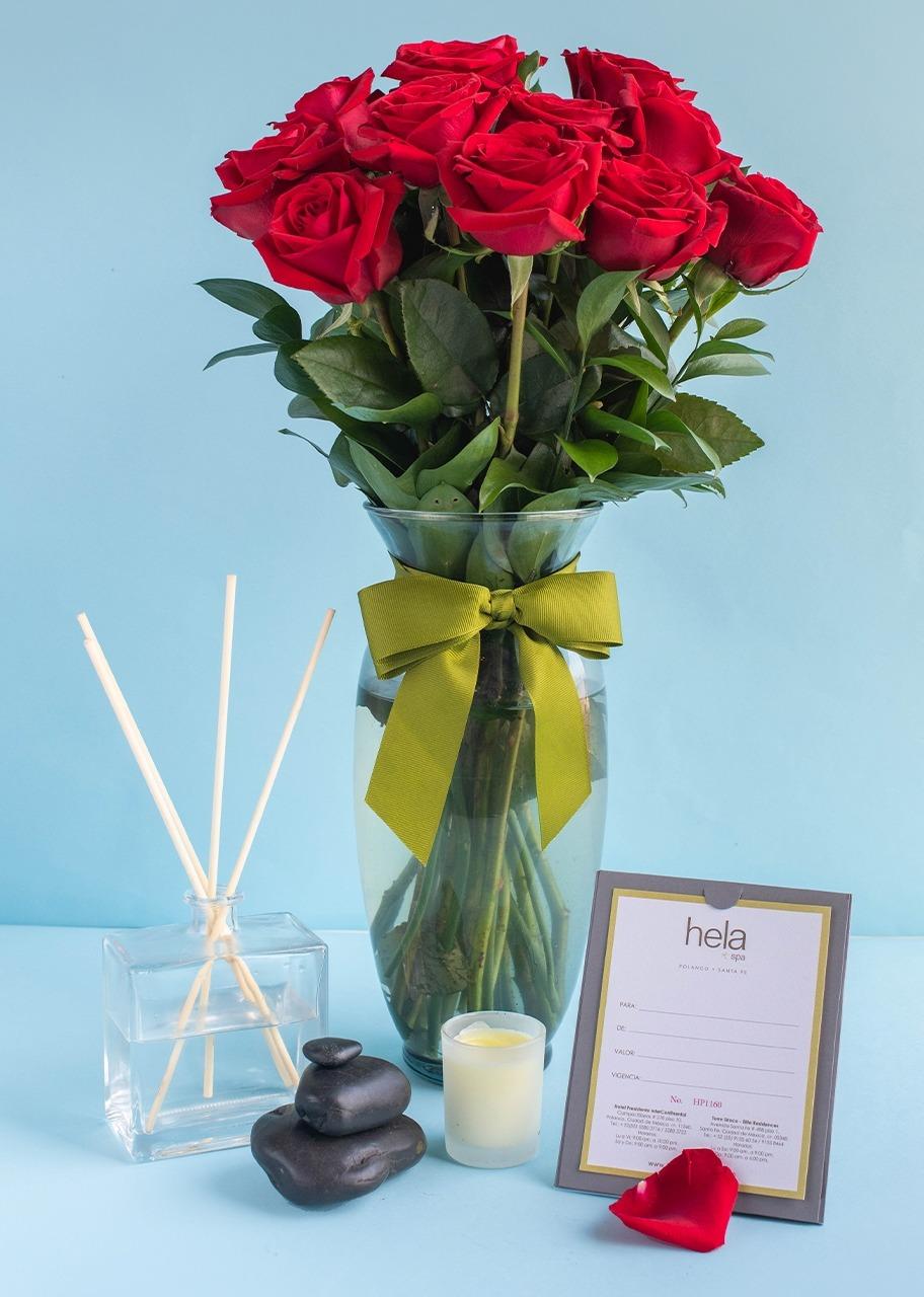 Imagen para 12 Rosas Rojas con Masaje Express - 1